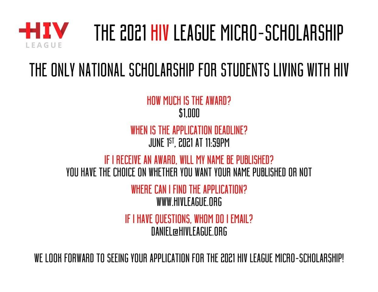 2021 HIV League Micro-Scholarship
